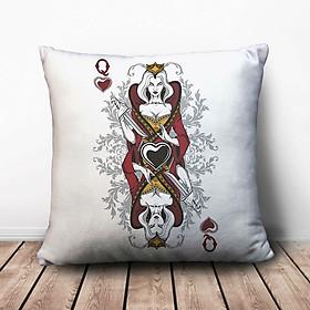 Gối Ôm Vuông Lá Bài Đầm Hoàng Hậu Độc Ác GVGI036 (36 x 36 cm)