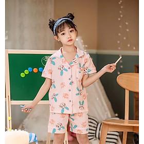 Bộ Pijama cộc tay hình thỏ tai xanh xuất Hàn bé gái 2-14 tuổi