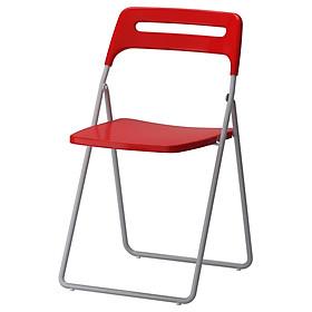 Ghế gấp màu bạc / đỏ NISSE Folding chair silvercolour/red IKEA