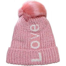 Mũ len nữ thời trang cao cấp màu hồng EH46-1