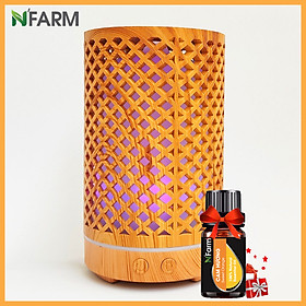 Combo máy khuếch tán/ máy xông tinh dầu hình Trụ Lưới N'Farm NF2065 + tinh dầu cam hương N'Farm(10ml)