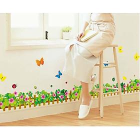 Decal dán tường hàng rào hoa bướm đầy AY926B