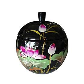 Hủ táo sơn mài - Hoa đào đỏ nền tím