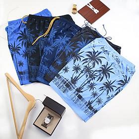 Quần đùi nam mặc nhà vải cotton mát form rộng rãi in hình cây dừa size dưới 75kg