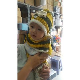 Hình ảnh Bộ mũ và khăn len lót lông nỉ cho bé