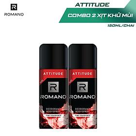 Combo 2 Xịt toàn thân Romano Attitude nồng ấm cá tính 150ml