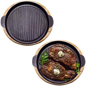Chảo Gang Nướng Chống Dính - Đế Gỗ ( Lựa Size 20-22-24 ) Làm Steak Bò Nướng , BBQ