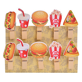 Bộ Kẹp Ảnh Gỗ - Fast Food (10 Cái)