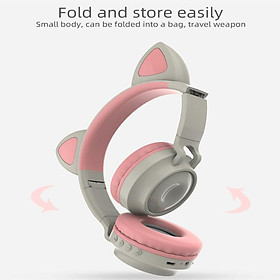 Bluetooth 5.0Ear Headphones Foldable Stereo Wireless Set Mic LED Light Volume Control Support For Kids