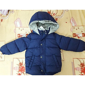 Áo khoác phao trần bông lót nỉ mũ lông ấm cho bé trai 9m-5 tuổi
