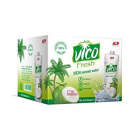 Thùng 12 hộp Nước dừa xiêm VICOFRESH (1 lít/hộp)