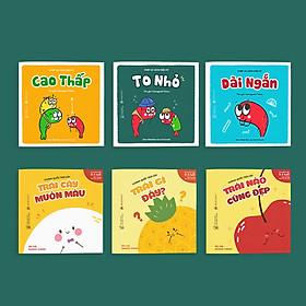 Combo 6 cuốn truyện tranh Ehon Nhật Bản - Vương quốc trái cây (Trái nào cũng đẹp, Trái gì đây, Trái cây muôn màu) và Phép so sánh kỳ diệu (To nhỏ, dài ngắn, cao thấp) + tặng kèm 2 phiếu bốc thăm trị giá lên đến 5 triệu Điện máy xanh + thước đo cho bé