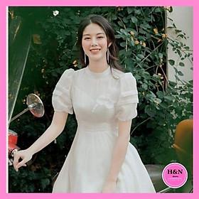 Váy Thiết Kế Xòe Trắng, Váy xòe trắng tiểu thư trẻ trung, xinh đẹp - H&N Store