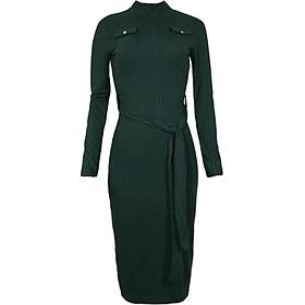 Váy Body Len Cổ Cao Dệt Kim Kết Hợp Thắt Lưng