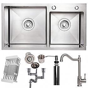 Hình ảnh Combo bộ chậu rửa bát 2 hố RANOX và vòi rửa bát 2 đường nước RN46704