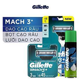 Dao Cạo Râu Gillette Mach3 Classic Cùng Bộ 3 Lưỡi Dao Thay Thế Và Bọt Cạo Râu Hương Chanh Chai 75G