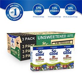 Thùng 8 lốc sữa hạnh nhân không đường SO GOOD Úc 250ml x3/lốc, làm từ hạnh nhân Úc, calo thấp