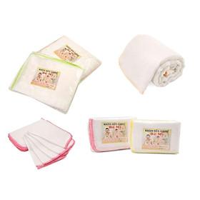 20 khăn sữa 25 x 25cm + 2 khăn tắm 75 x 80cm cotton 4 lớp  cho bé_y hinh