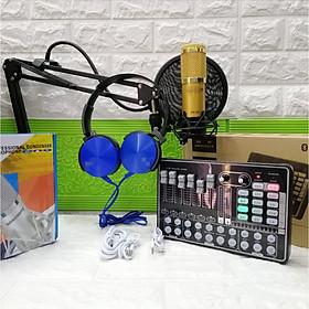 Combo thu âm live stream Sound card H9 và micro BM 900 đầy đủ phụ kiện kèm theo tặng tai phone ốp thời trang