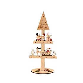 DIY Wooden Mini Christmas Tree Shape Blocks Decoration for Home Desktop Decoration
