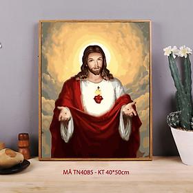 Tranh sơn dầu số hóa tự tô màu Tranh công giáo Chúa Jesus TN4085