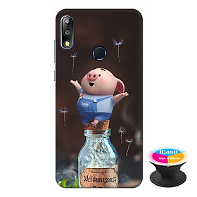 Ốp lưng điện thoại Asus Zenfone Max Pro M2 hình Heo Con Thư Giãn tặng kèm giá đỡ điện thoại iCase xinh xắn - Hàng chính hãng