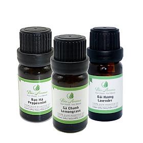 Combo 3 lọ tinh dầu Bio Aroma: Tinh dầu sả chanh 10ml - Tinh dầu bạc hà 10ml - Tinh dầu oải hương 10ml 100% tự nhiên
