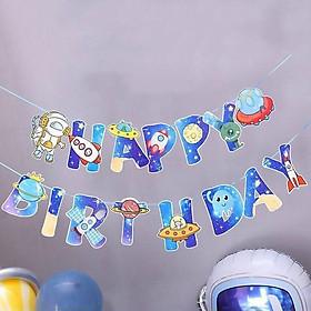 Dây treo trang trí Happy Birthday sinh nhật ép kim bé trai - Dây treo siêu nhân người nhện captain bossbaby tàu thuyền xe cộ vũ trụ