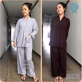 Bộ đồ phật tử Mẫu La Hán Nam Nữ vải Kate mịn, đồ lam đi chùa quần áo trang phục giản dị đi lễ chùa - Anle Store
