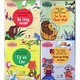 Combo Truyện tranh ngụ ngôn dành cho thiếu nhi song ngữ Anh - Việt ( Bộ 4 cuốn bộ lông mượn + sư tử và chuột nhắt+ cò và cáo + chuột , gà trống và mèo