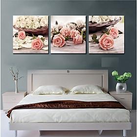 Bộ tranh 3 Bức - Tranh treo tường  phòng khách- Tranh Hoa 3D Hiện Đại H 60205 /Gỗ MDF cao cấp phủ kim sa/ Chống ẩm mốc, mối mọt/Bo viền góc tròn