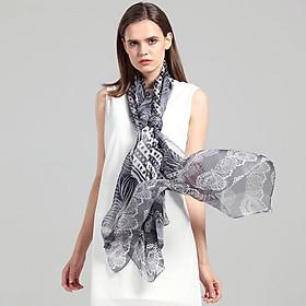 Cartier crocodile (CARTELO) fine imitation silk scarf women's spring and autumn models large towel high-grade silk scarf shawl scarf bib thin summer sunscreen CC58C17062 black