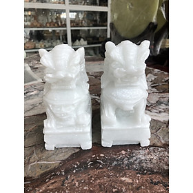 Cặp Kỳ Lân phong thủy đá cẩm thạch trắng - Cao 12 cm