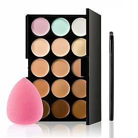 15 Colors Camouflage Concealer Palette Professional Contour Eyeshadow Face Cream Makeup Foundation Kit with Sponge Puff