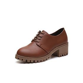 Giày Oxford Nữ Da Pu Đế Cao 6cm 3Fashion Shop - 2845 - Nâu