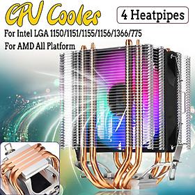 CPU Cooler 4 Heatpipe 4Pin LED RGB Fans 90mm for LGA 775/1155/1156/1150/1366 AMD
