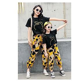 Set bộ mẹ và bé áo thun quần đũi ống bo thun - Màu đen