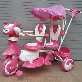 Xe đẩy đôi 2 ghế (Có nhạc + bảo hiểm + mái che)- Màu cho bé gái