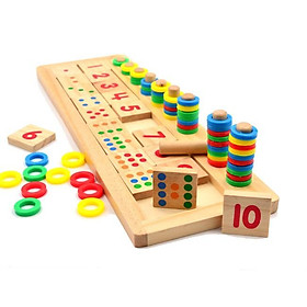 Com 1 bảng tính và 1 bảng số Montessori - Đồ chơi giáo dục gỗ an toàn cho bé