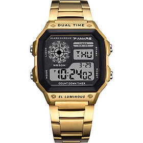 PANARS Men Digital Sports Watch Dual Time Mode Male Business Watches Date Week Alarm Clock Backlight Count Down 50M