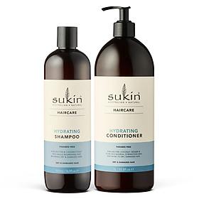 Combo Phục Hồi Tóc Hư Tổn Gãy Rụng Sukin Hydrating Shampoo 500ml & Sukin Hydrating Conditioner 1000ml