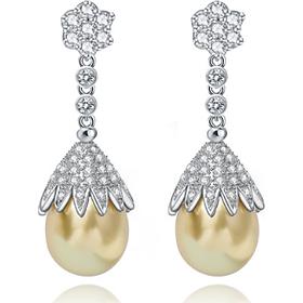 Bông tai khuyên tai bạc S925 kiểu độc lạ hoàng gia hạt bẹt vàng