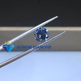 (Size từ 8-10.5 ly) Kim cương nhân tạo Mỹ Moissanite giác cắt tròn màu xanh dương
