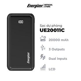 Sạc dự phòng Energizer 20.000 mAh/3.7V Li-Polymer - UE20011C -Tích hợp 2 cổng USB output & 2 cổng input - Hàng Chính Hãng - Đen