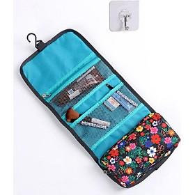 Túi ví du lịch đựng đồ dùng cá nhân, có móc treo và khóa cài chắc chắn, tặng kèm móc dán tường-màu xanh da trời