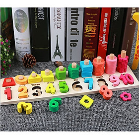 Đồ chơi giáo dục 2in1, Bộ học số đếm, hình học bằng gỗ - Multifunction Logarithmic Plate