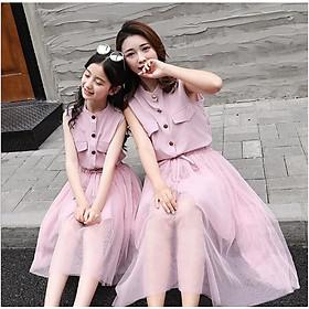 Set váy mẹ bé màu hồng sát nách cài khuy giữa + chân váy lưới TE2222 TE2223
