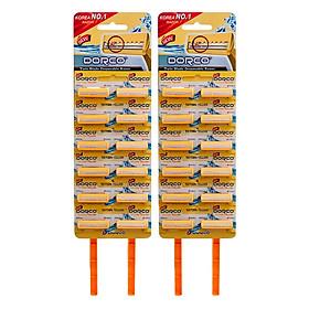 Combo 2 Set Dao Cạo Râu 2 Lưỡi Dorco TD 708 12 HC (12 Dao Cạo / Vỉ )