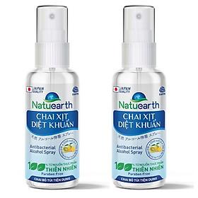 Combo 2 Chai xịt diệt khuẩn Natuearth (60 ml) - Chai bỏ túi - Chuyên dùng diệt khuẩn da tay và bề mặt -  với 100% nguyên liệu thiên nhiên đạt tiêu chuẩn Nhật Bản