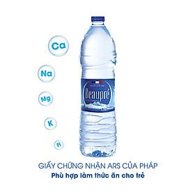 Thùng 6 chai nước khoáng thiên nhiên Beaupre 1.5L được lấy từ tâm dãy núi Provence Pháp, chất lượng Châu Âu